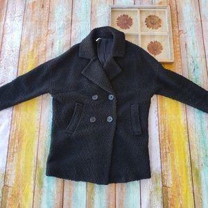 Free People Black Textured Wool Peacoat XS